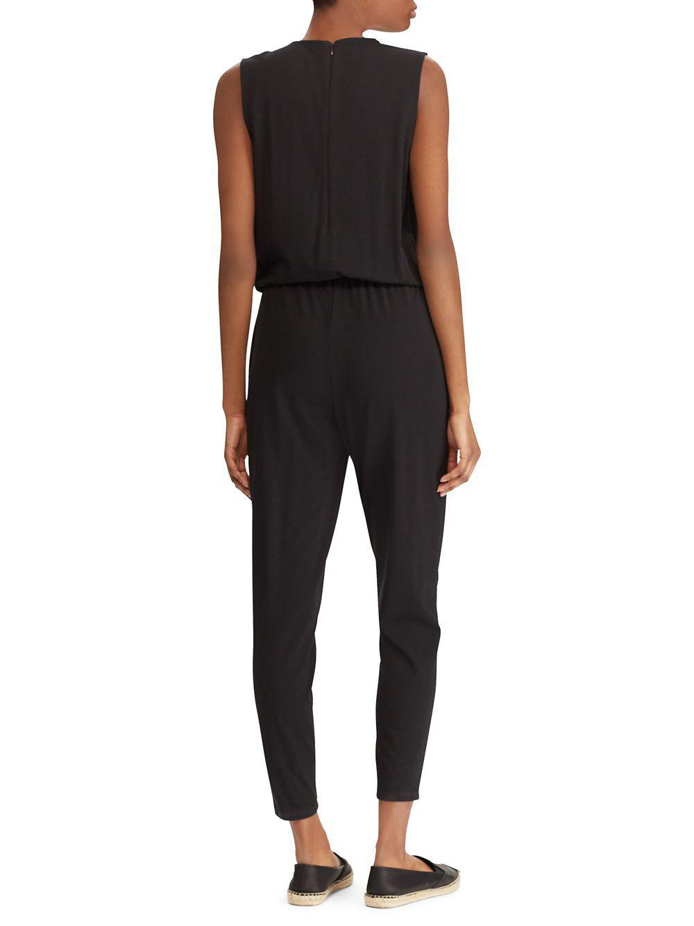 b359a8101bf8 Lyst - Lauren By Ralph Lauren Skinny Jersey Jumpsuit in Black