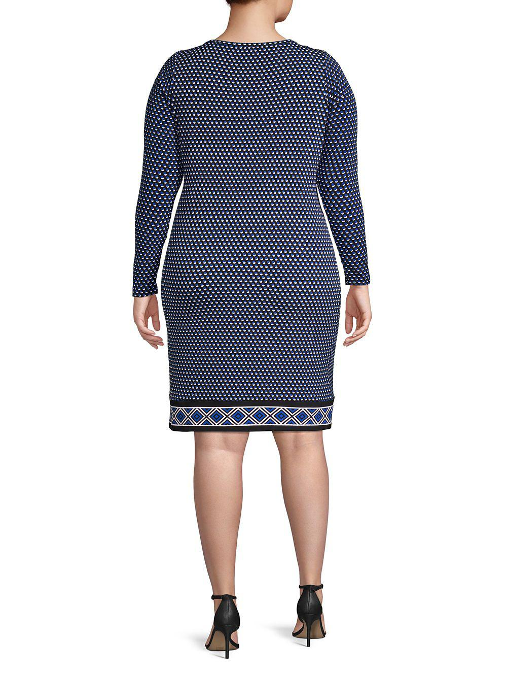 e2509ae60b8 Lyst - Michael Michael Kors Plus Long-sleeve Dotted Shift Dress in Blue