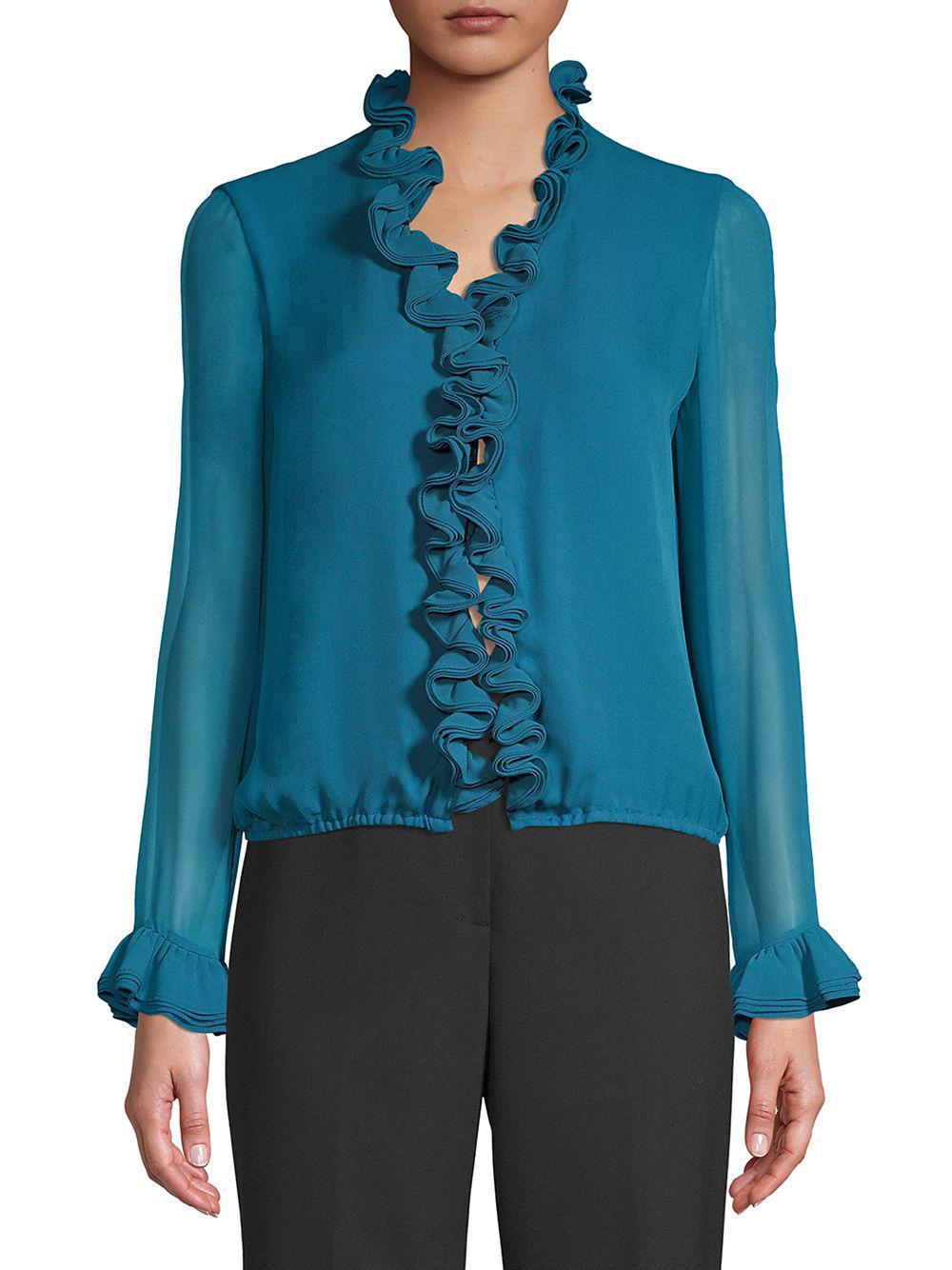 507934d9058db8 Elie Tahari Chandana Silk Blouse in Blue - Lyst