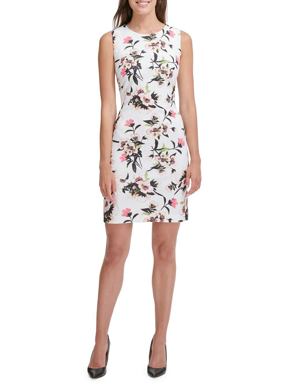 d3a56eabe22 Tommy Hilfiger Floral Scuba Sheath Dress in White - Lyst