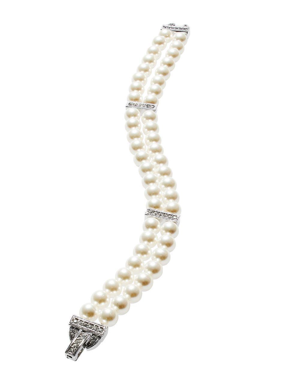 c7d51ec2df1e8 Nadri Double-row Faux Pearl Bracelet in White - Lyst