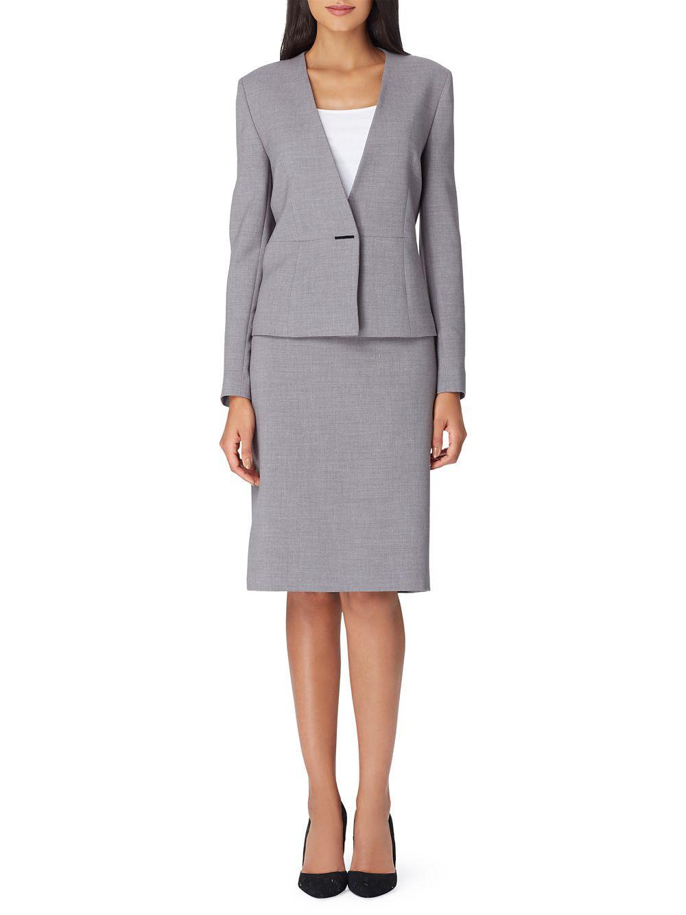 e7598de89be Lyst - Tahari Classic Long-sleeve Skirt Suit in Metallic