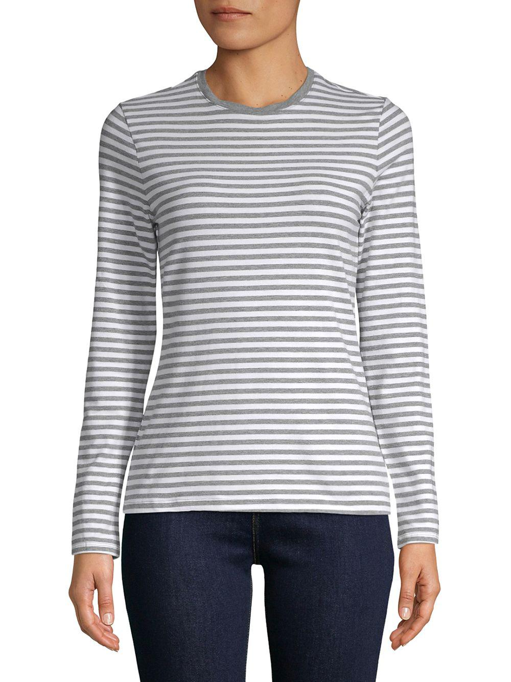 a5cea20b37dbf Lyst - Lord   Taylor Petite Stripe Essential Top in Gray