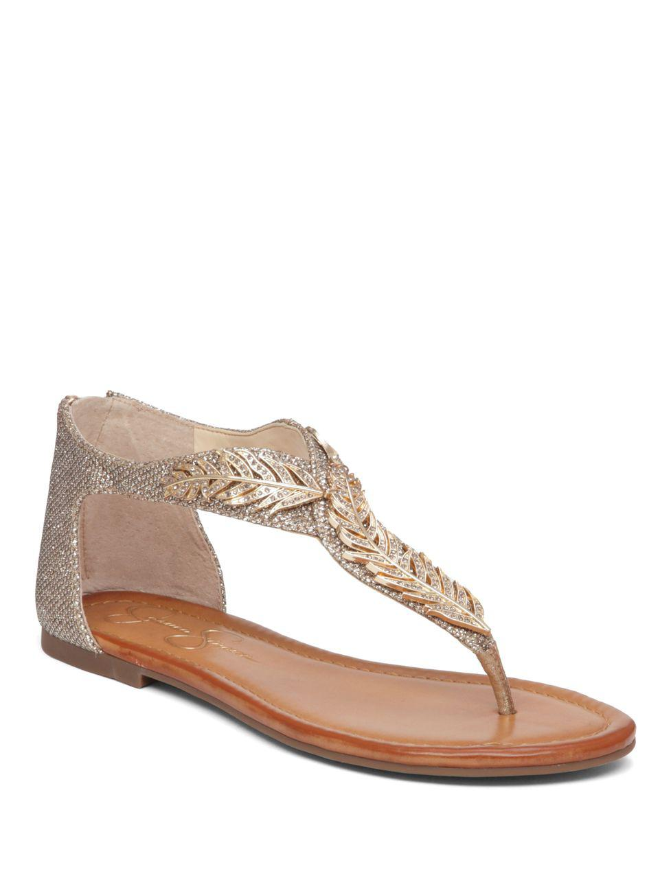8d05647f7277 Lyst - Jessica Simpson Kalie Zippered Thong Sandals in Metallic