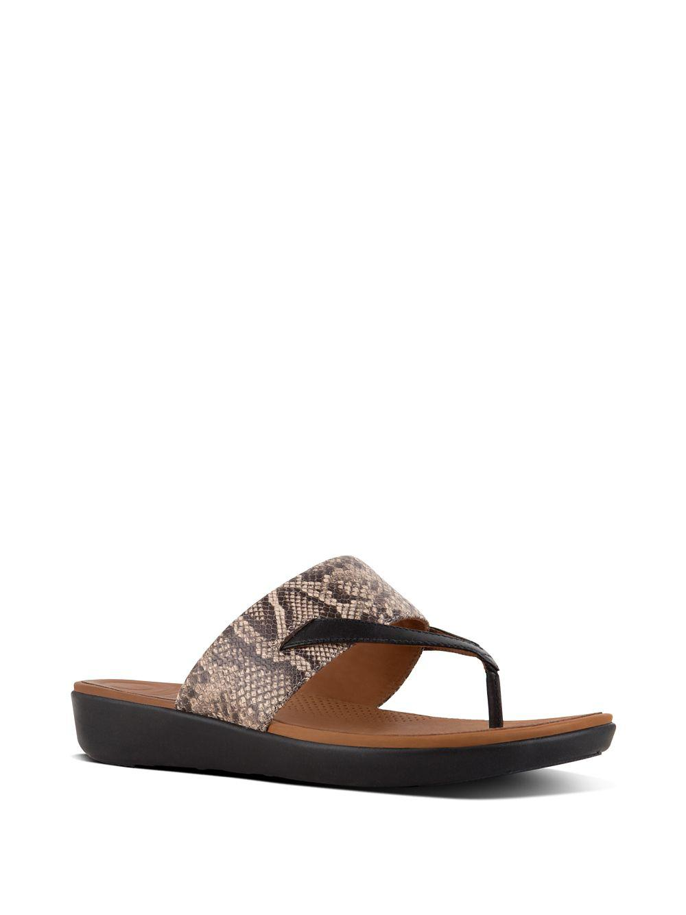 a17f5e80f5e8 Fitflop Deltatm Snake-print Leather Thong Sandals in Brown - Lyst