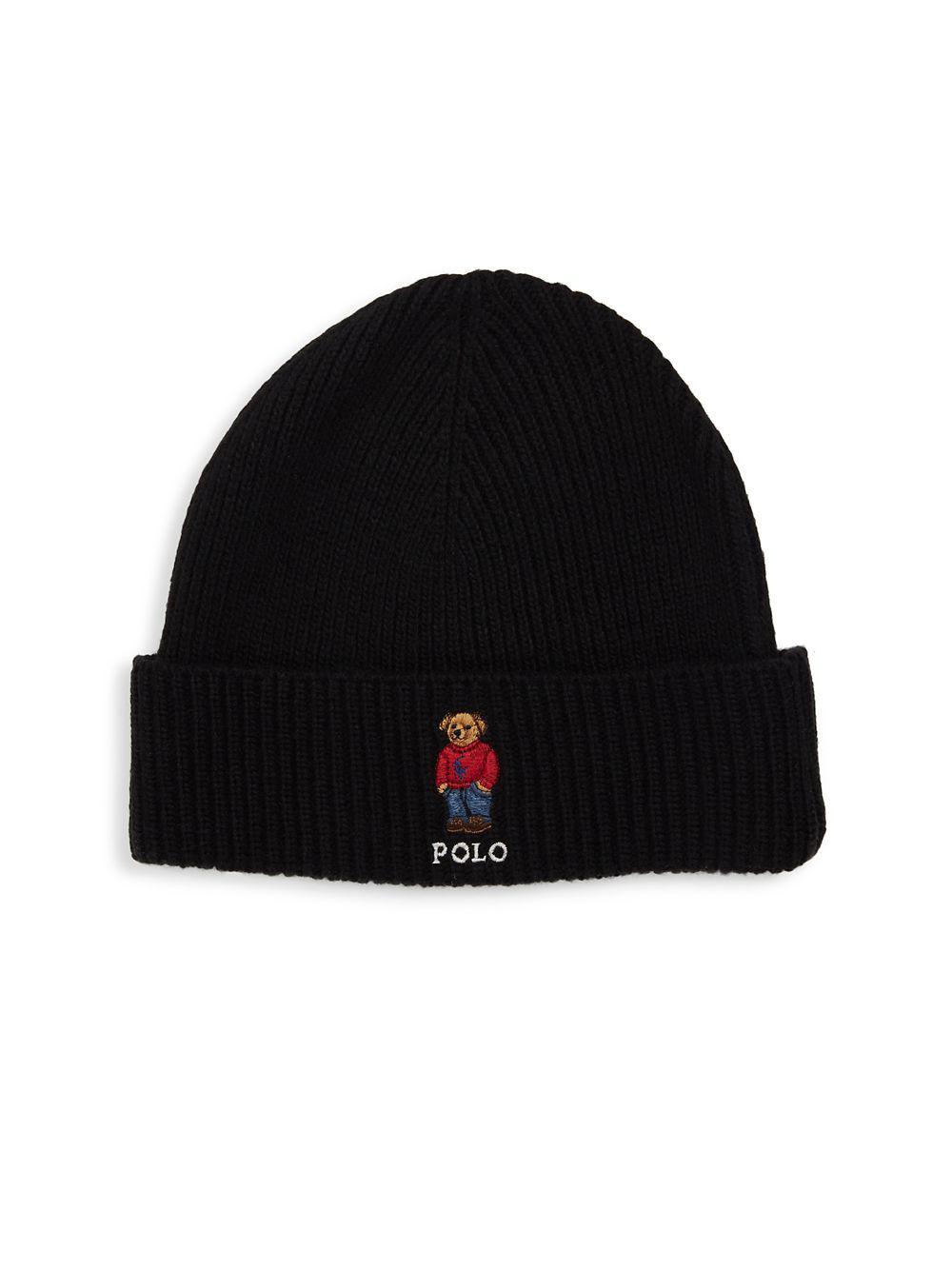 c0527bba780 Polo Ralph Lauren - Black Sweater Bear Cuffed Beanie for Men - Lyst. View  fullscreen