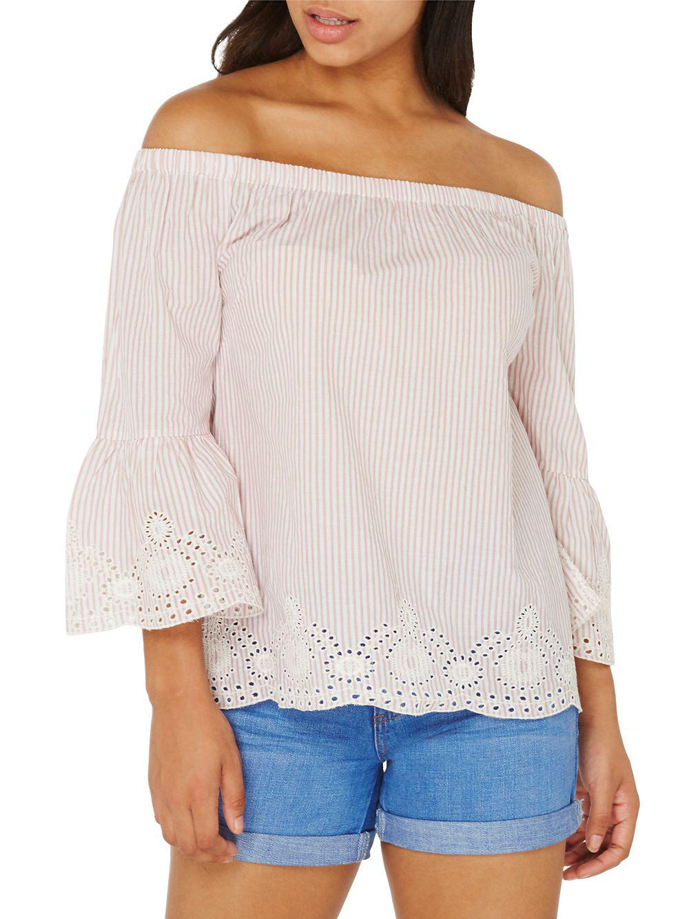 254faf87206864 Dorothy Perkins. Women s Striped Broderie Bardot Top