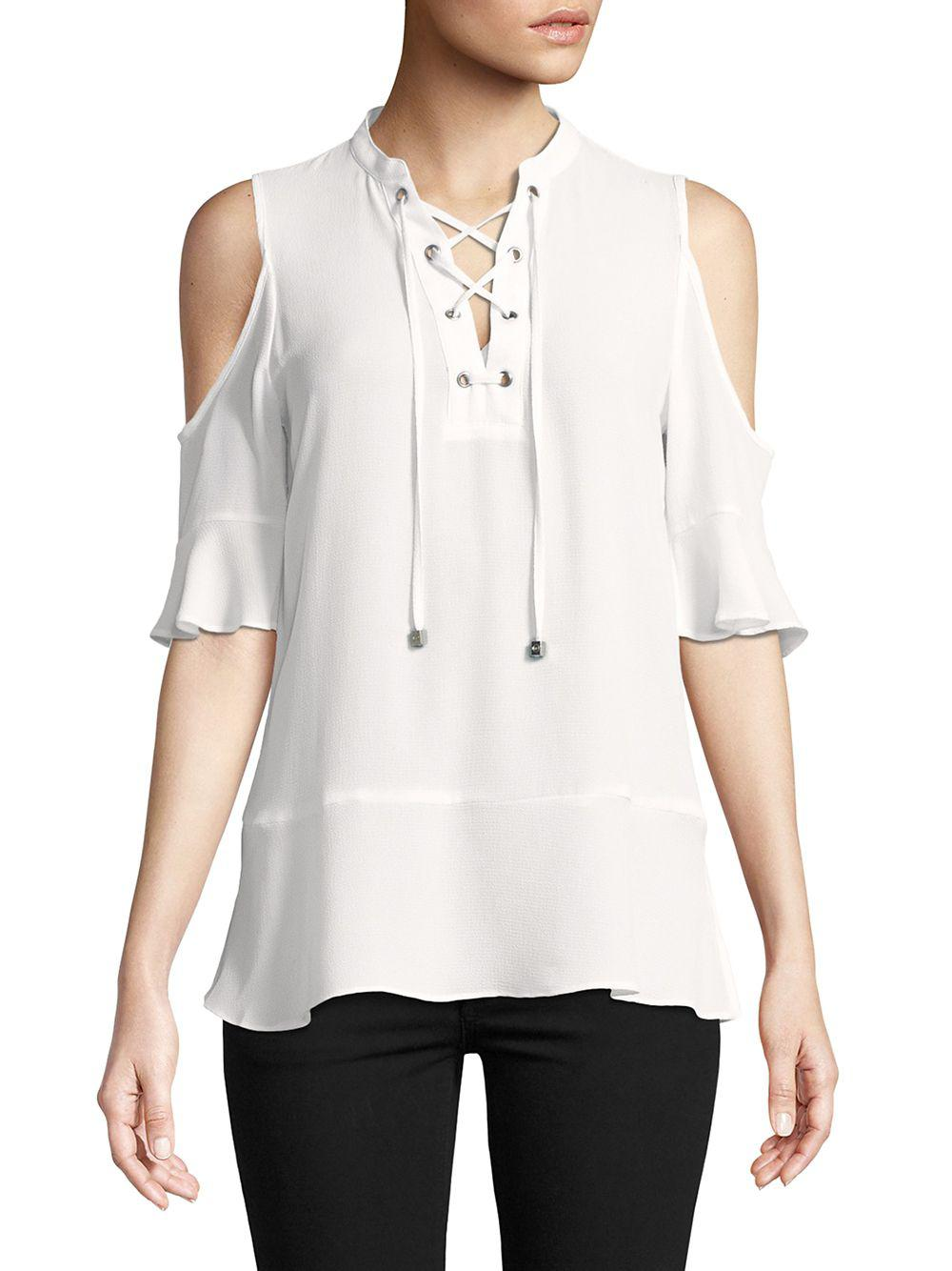 24db1a58a6508 Lyst - Michael Michael Kors Ruffled Lace-up Blouse in White