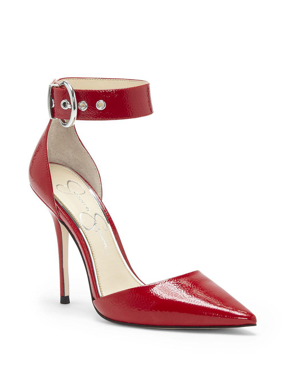 c6343459fdc Jessica Simpson Waldin Patent Leather Ankle-strap Pumps in Red - Lyst