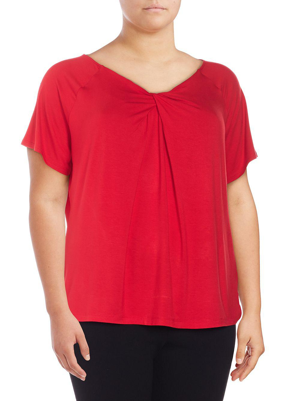 828350314249e Lyst - Lord   Taylor Plus Twist-neck Top in Red