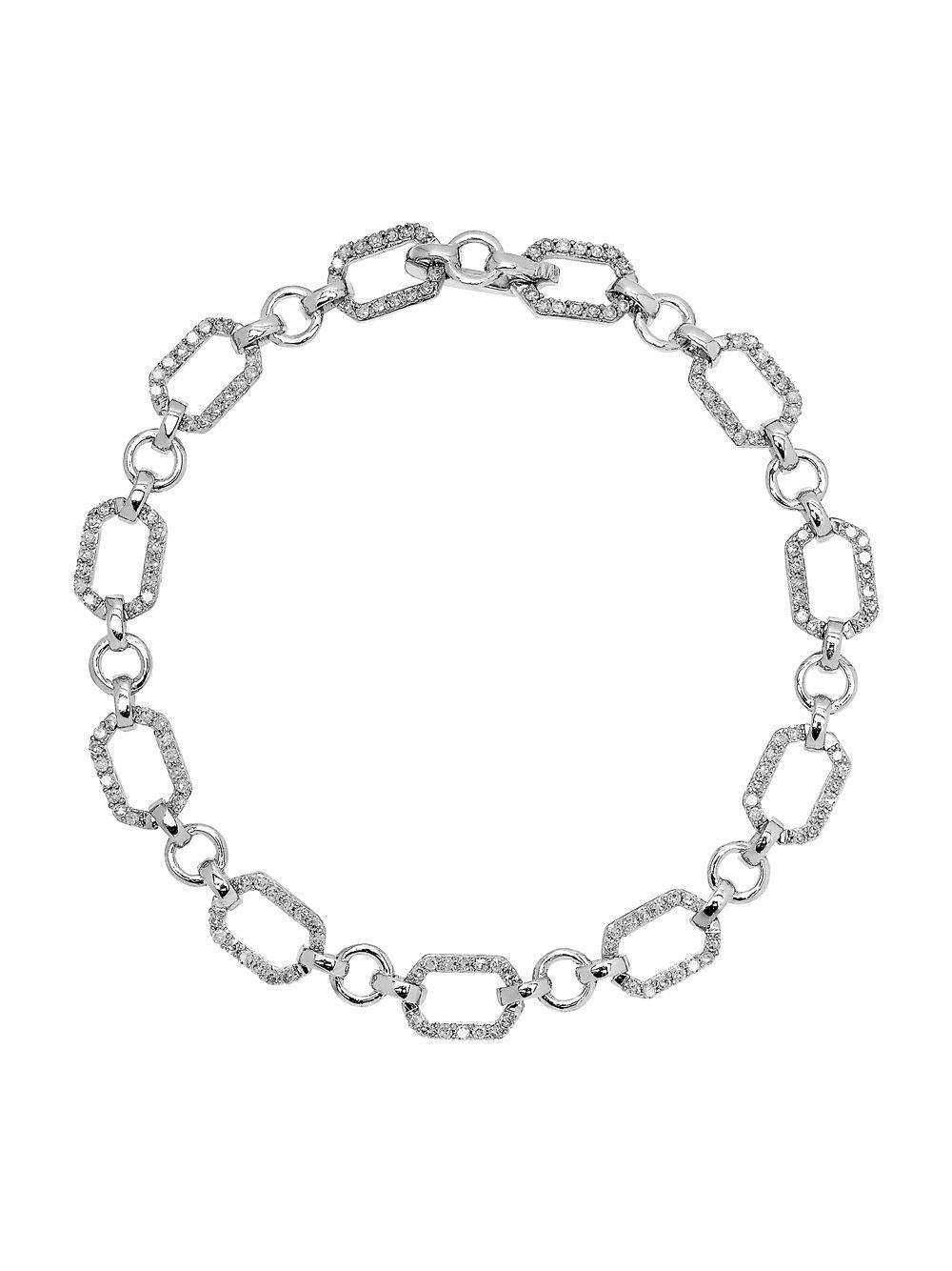 Lord Taylor Women S Metallic Diamond And 14k White Gold Linked Bracelet