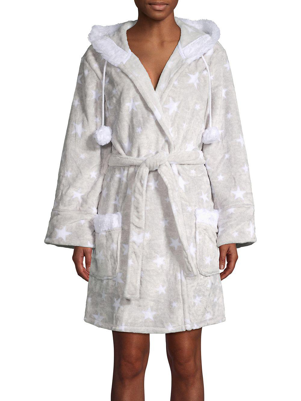 1ae8ce02e000 Pj Salvage Hooded Faux Fur Star Robe in Gray - Lyst