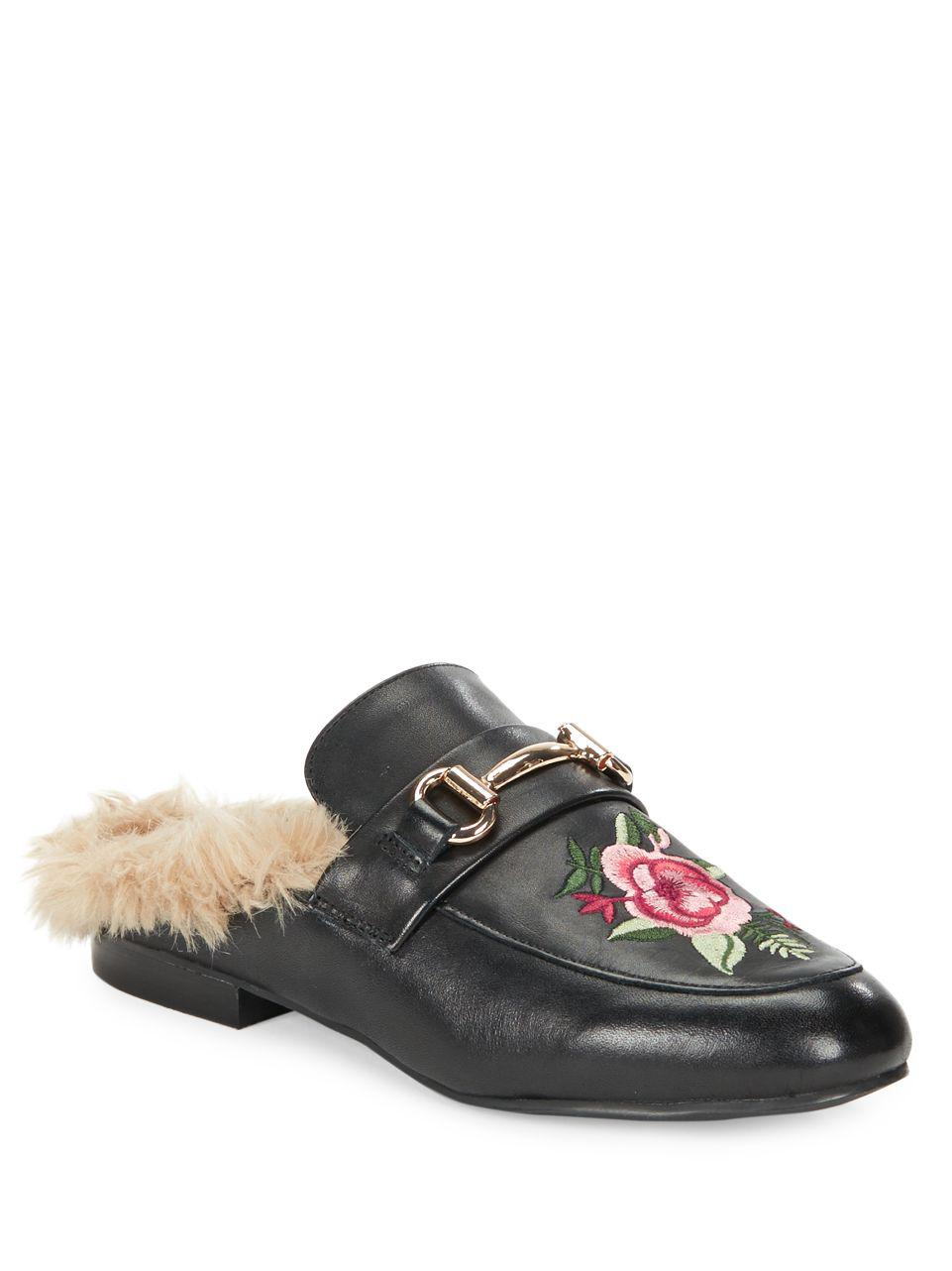 30e57f1a91d Lyst - Steve Madden Jill Embroidred Faux Fur Slide Loafers in Black