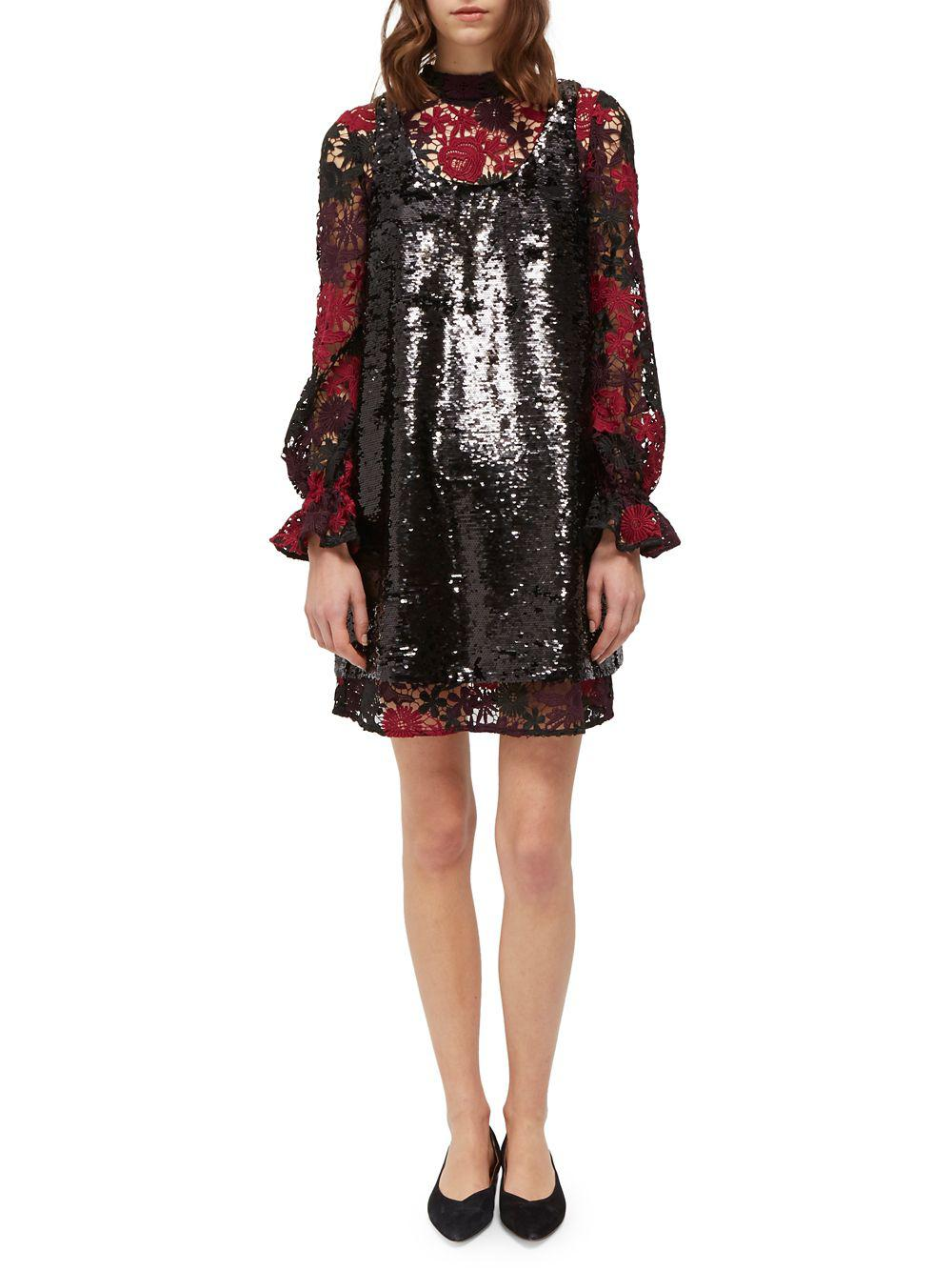 c59ccca9 French Connection Cynthia Lace & Sequin Shift Dress in Black - Lyst