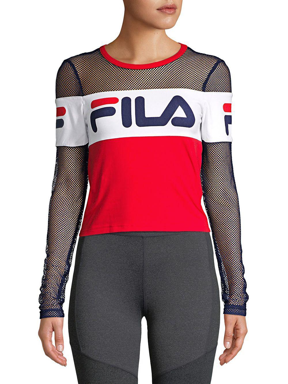 005f5a38d00 Fila - Red Tara Mesh-sleeve Cropped Top - Lyst. View fullscreen