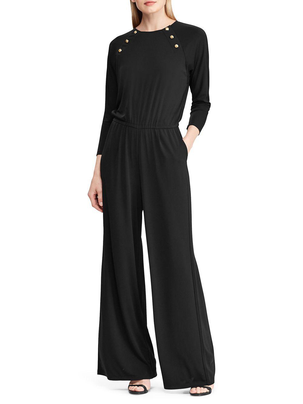 5bc58717238 Lyst - Lauren By Ralph Lauren Rivet-trimmed Jumpsuit in Black