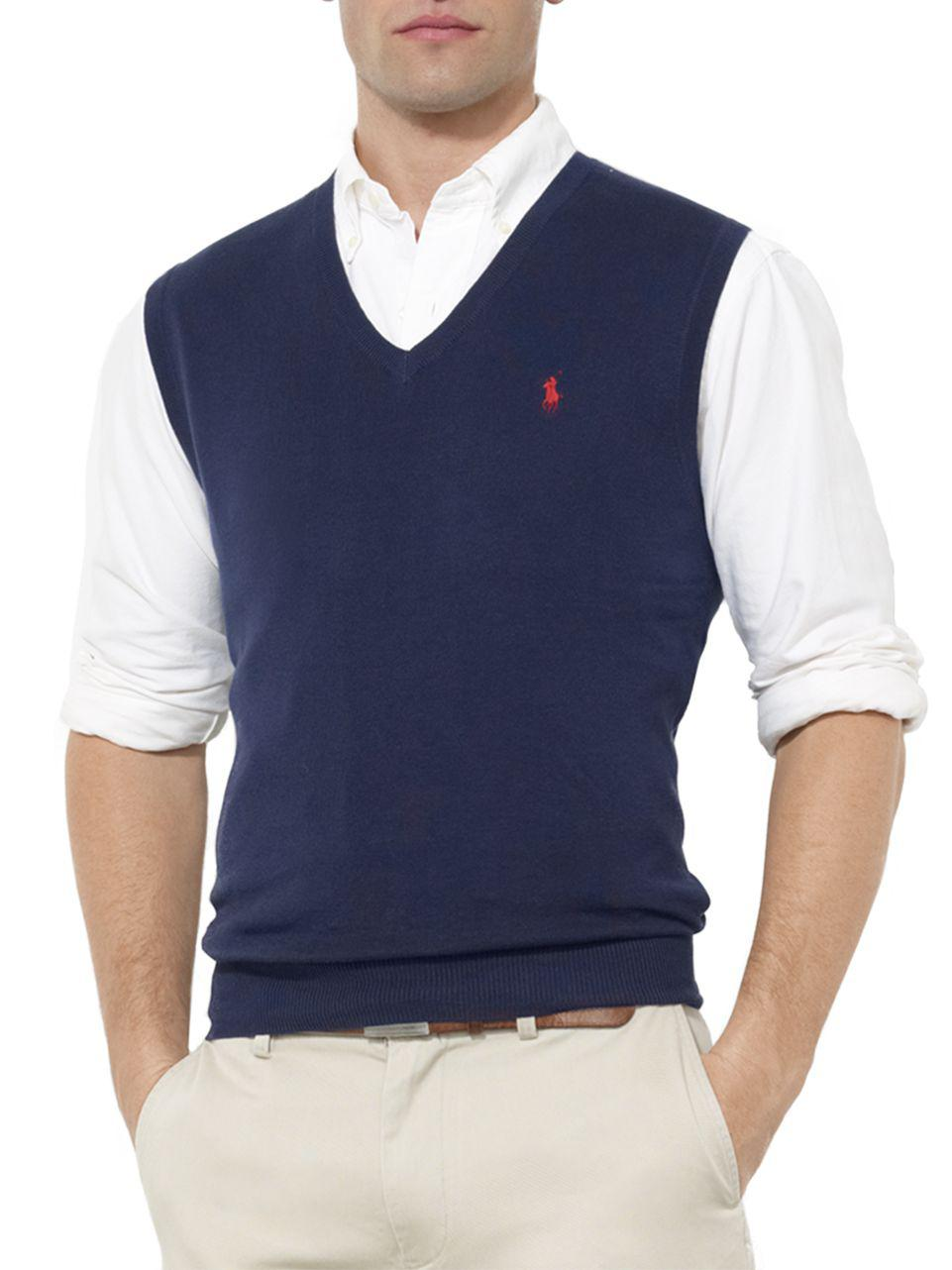 Polo ralph lauren Pima Cotton V-neck Sweater Vest in Blue for Men ...