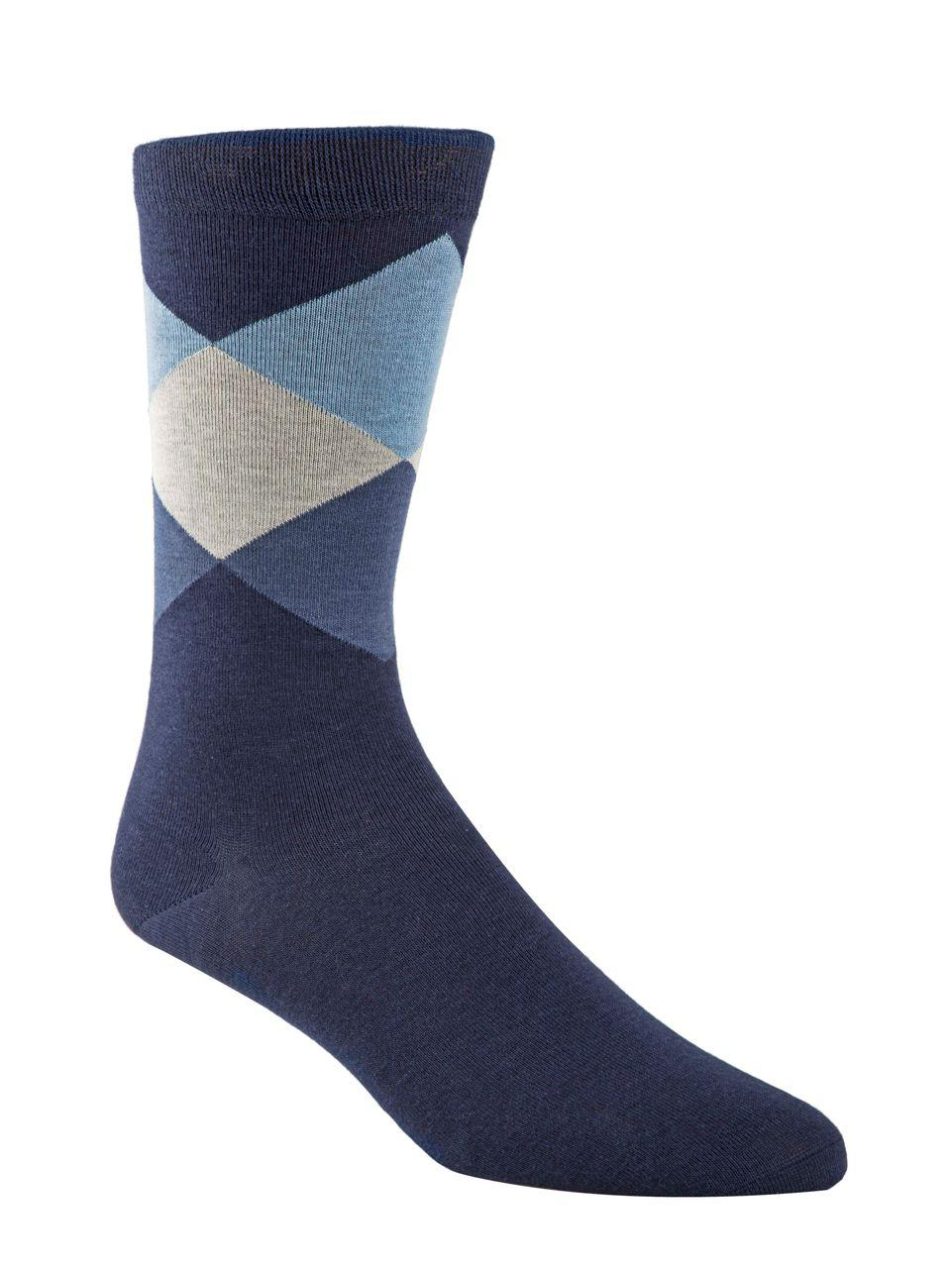 1806bf8645f6 Lyst - Cole Haan Diamond Patterned Crew Socks in Blue for Men