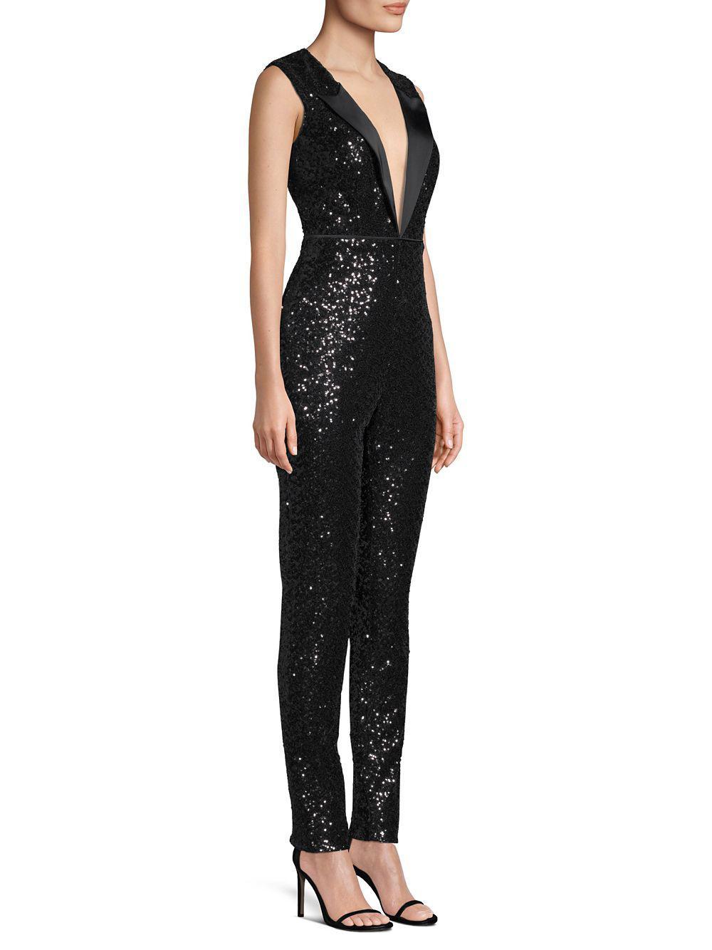 301f954c065 Aidan By Aidan Mattox Sequin Tuxedo-look V-neck Jumpsuit in Black - Lyst