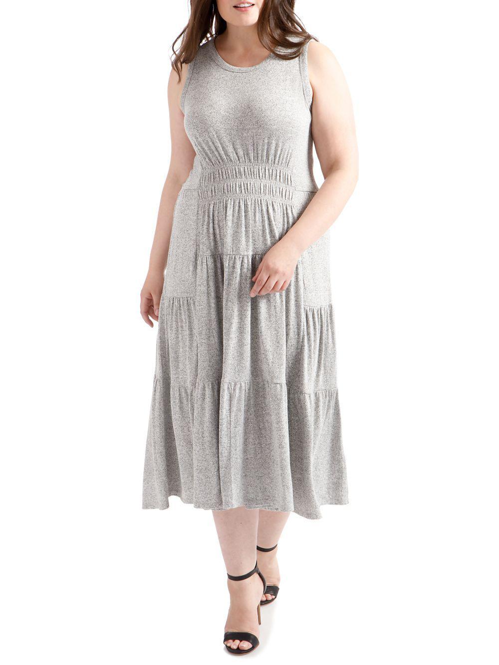 93d7aa6339d Lucky Brand Plus Open-back Smocked Dress in Gray - Lyst