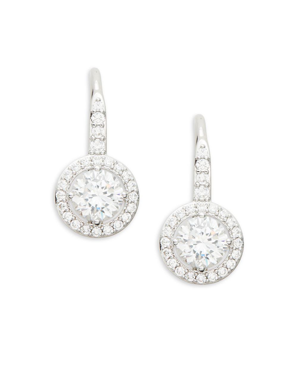 754444c01 Nadri. Women's Metallic Crystal And Sterling Silver Fixed Framed Earrings