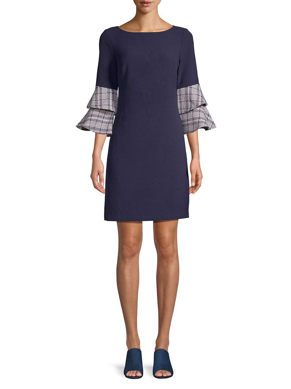 995f5b48c62f42 Eliza J Double-ruffle Sleeve Sheath Dress in Blue - Lyst