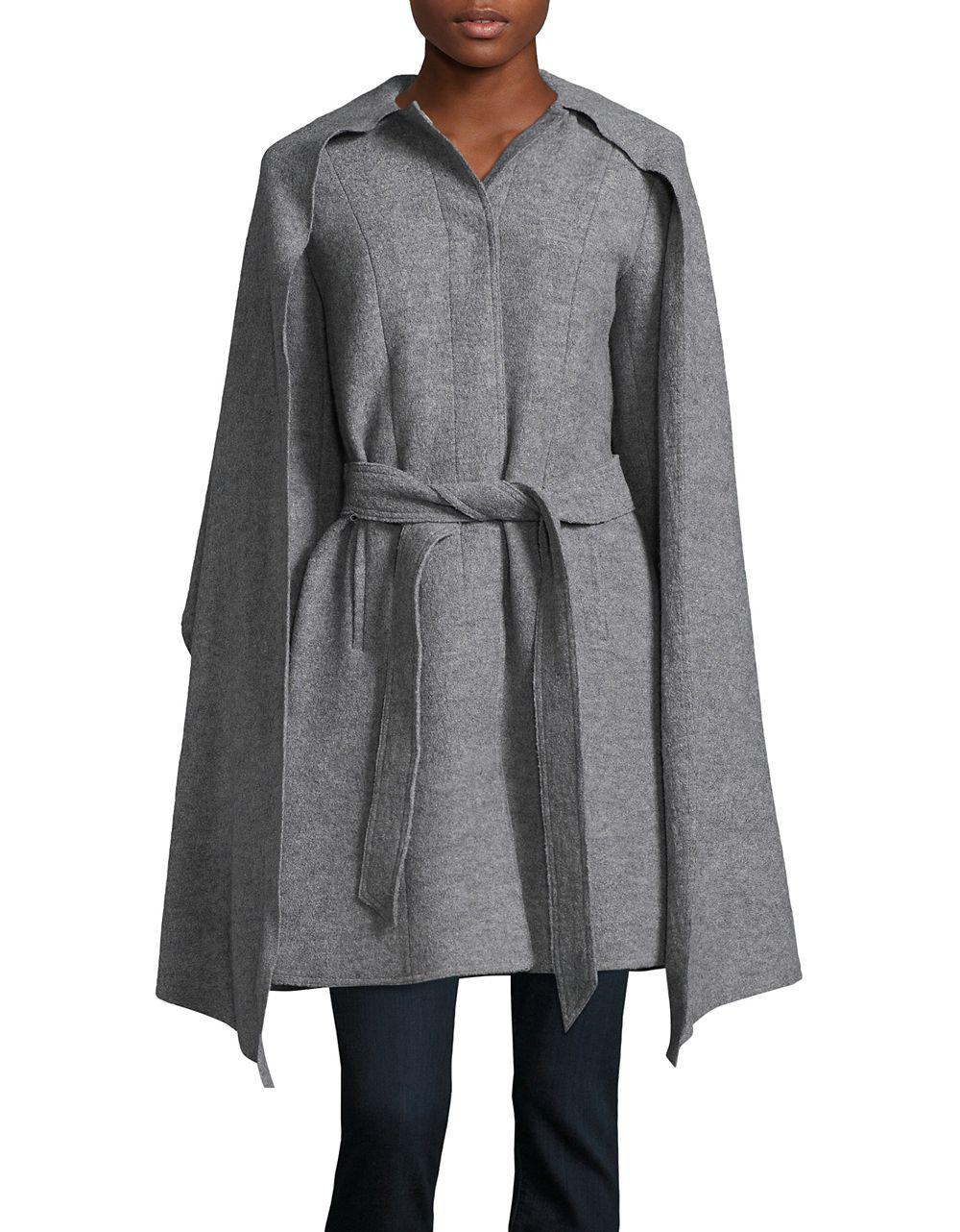 f4f64ff30cd Cole Haan Belted Wool Attached Scarf Coat in Gray - Lyst