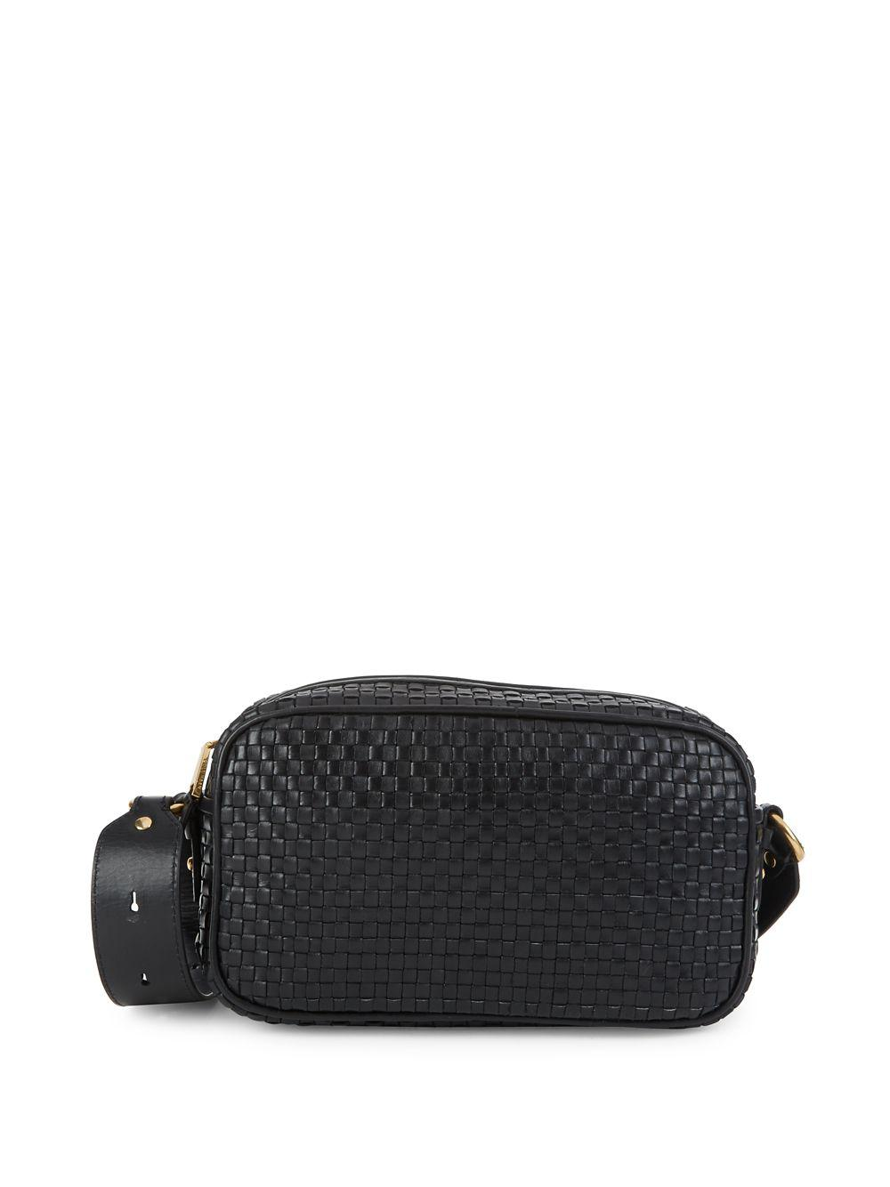 48a9defe8b Cole Haan Zoe Woven Leather Camera Bag in Black - Lyst