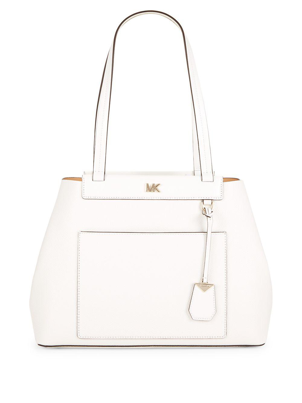 c8e1f604f0d344 MICHAEL Michael Kors Meredith Leather Tote in White - Lyst