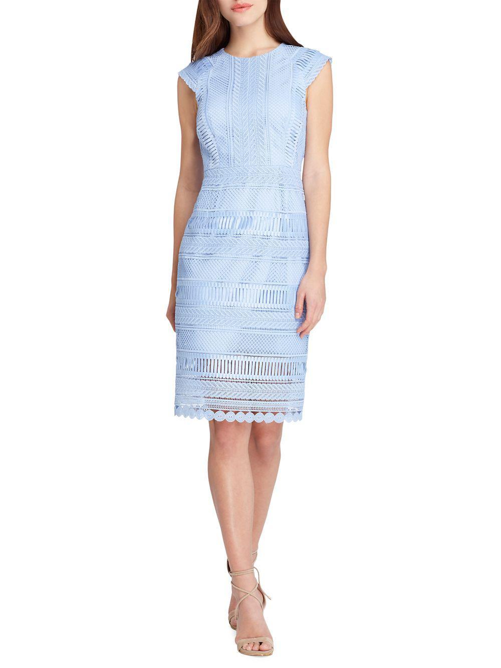 b49200c532288 Lyst - Tahari Cap Sleeve Sheath Dress in Blue