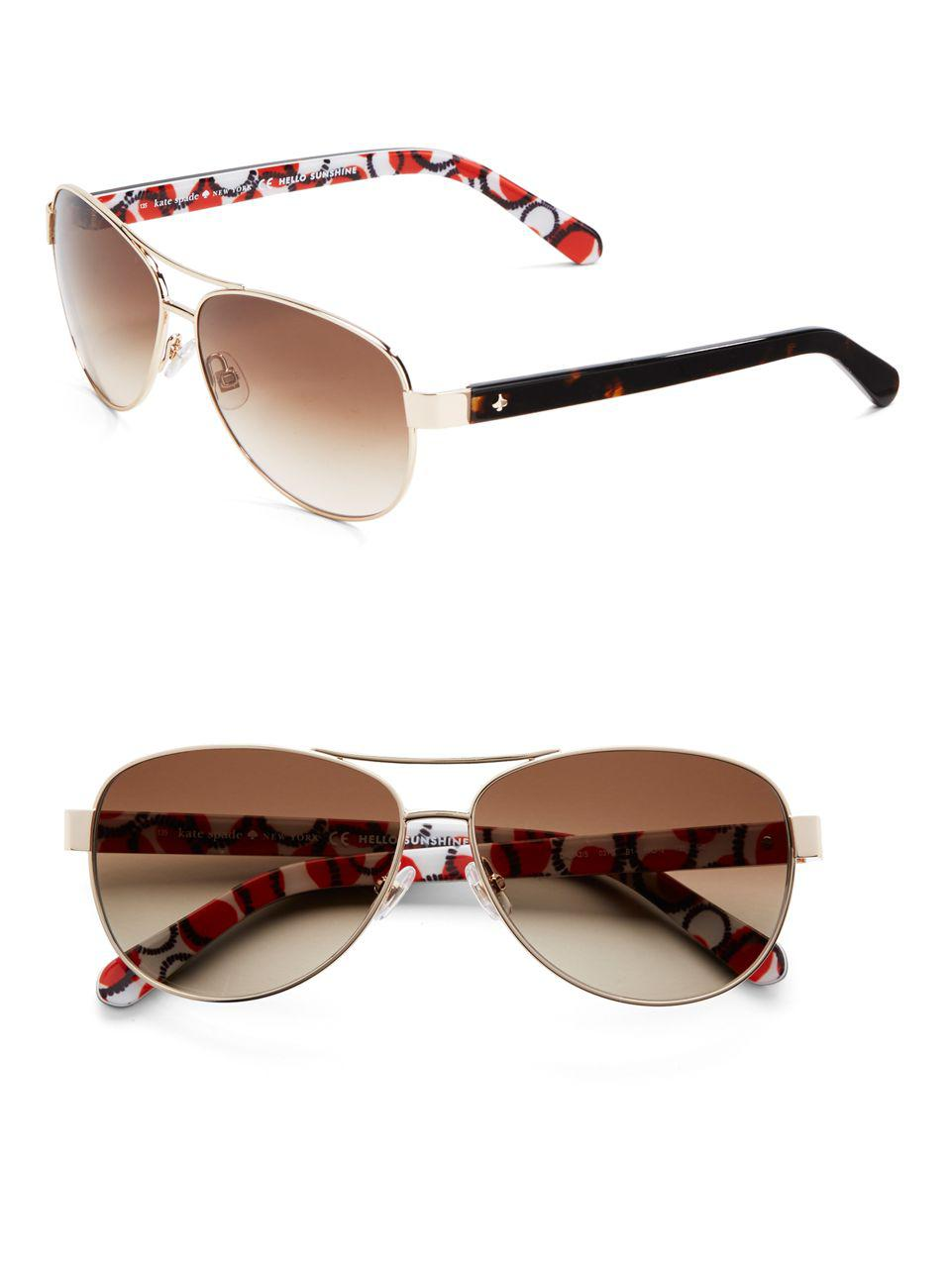 9c274edfef Lyst - Kate Spade 58mm Dalia Teardrop Aviator Sunglasses in Metallic