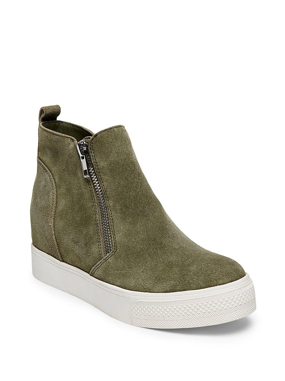 c98fddccfb0 Steve Madden Wedgie Zipped Suede Sneakers in Green - Lyst