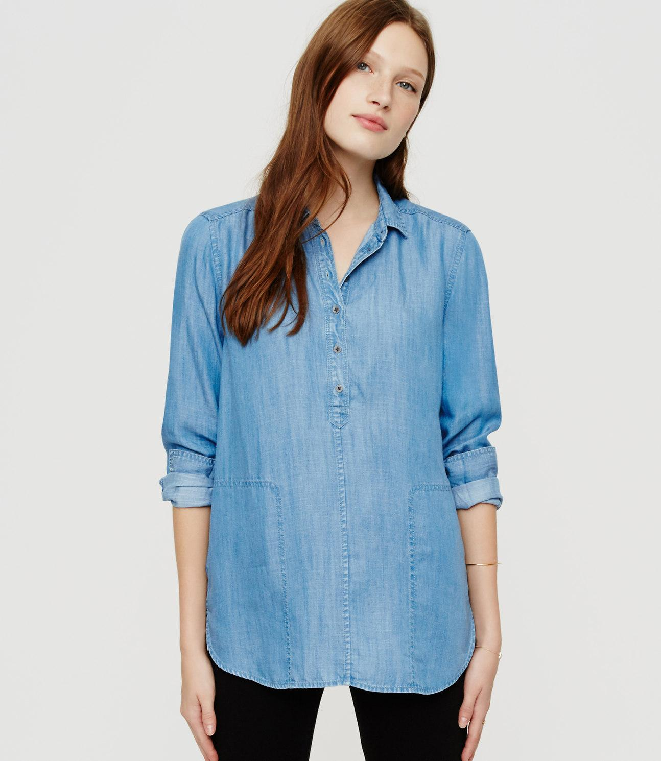 821ae44d Lou & Grey Chambray Henley Pocket Tunic in Blue - Lyst