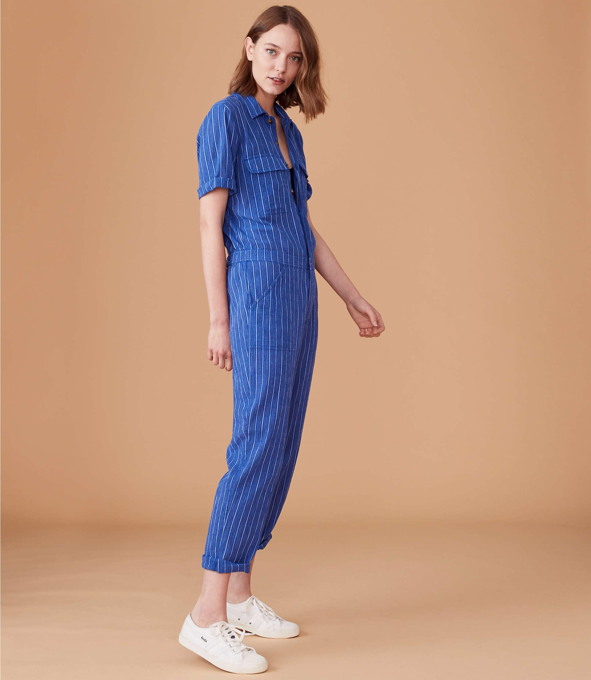 a075a07935d Lyst - Lou   Grey Striped Utility Jumpsuit in Blue