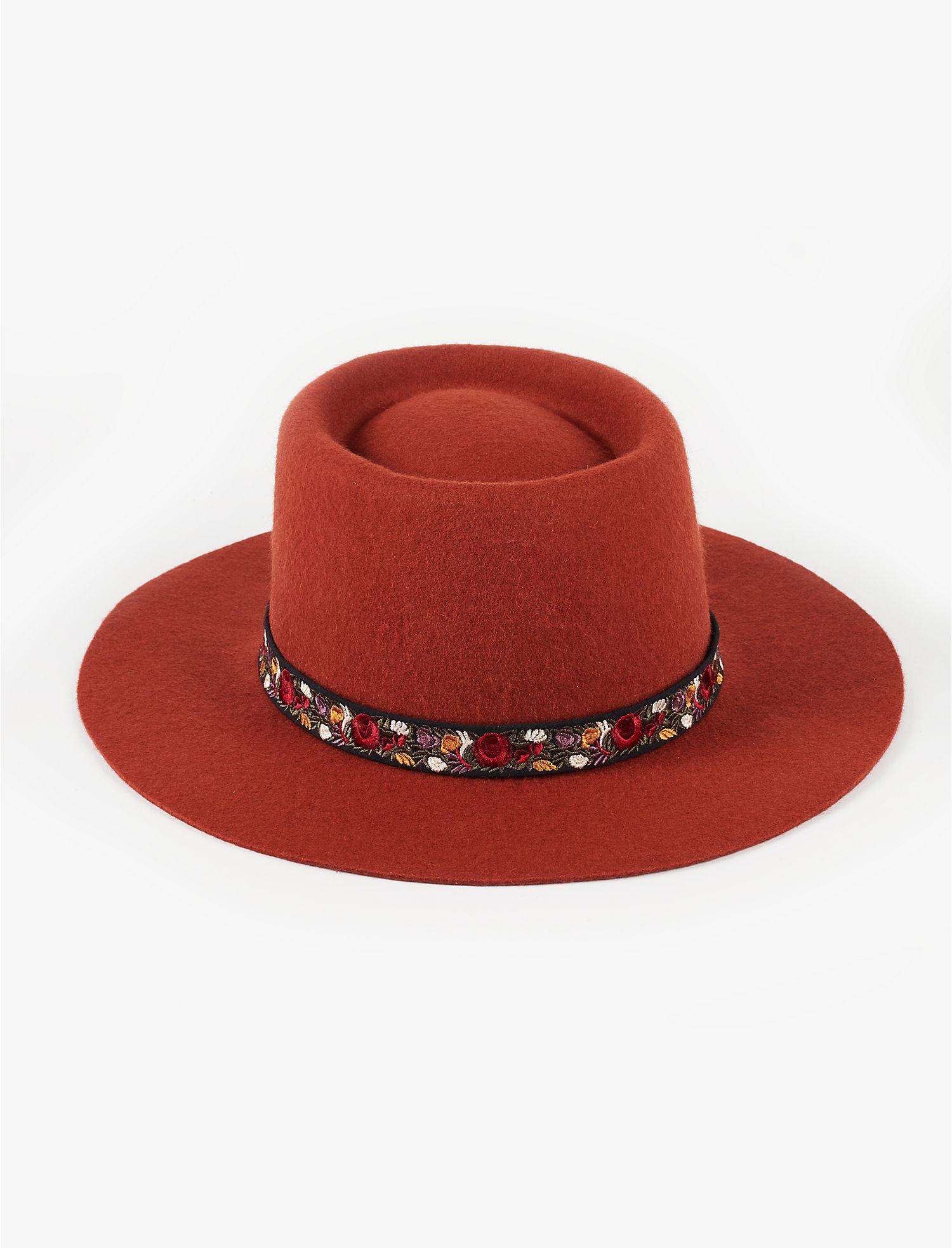 Lyst - Lucky Brand Floral Trim Wool Hat-rust in Red 19333cc01ad9