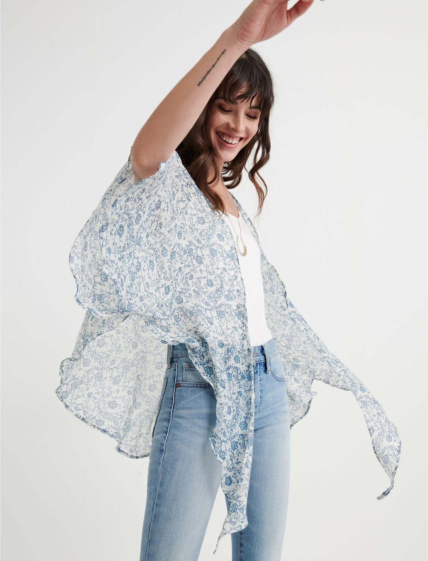fed5e60dd8abcf Lyst - Lucky Brand Floral Printed Tie Kimono