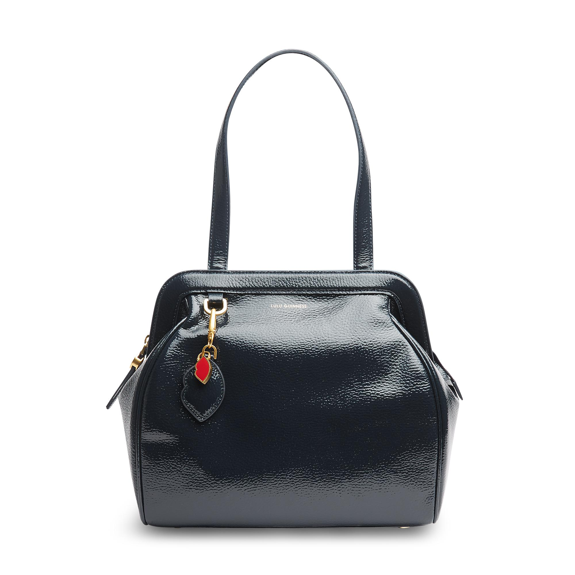 f3b4f48e84 Lulu Guinness Midnight Navy Patent Grainy Leather Large Paula in ...