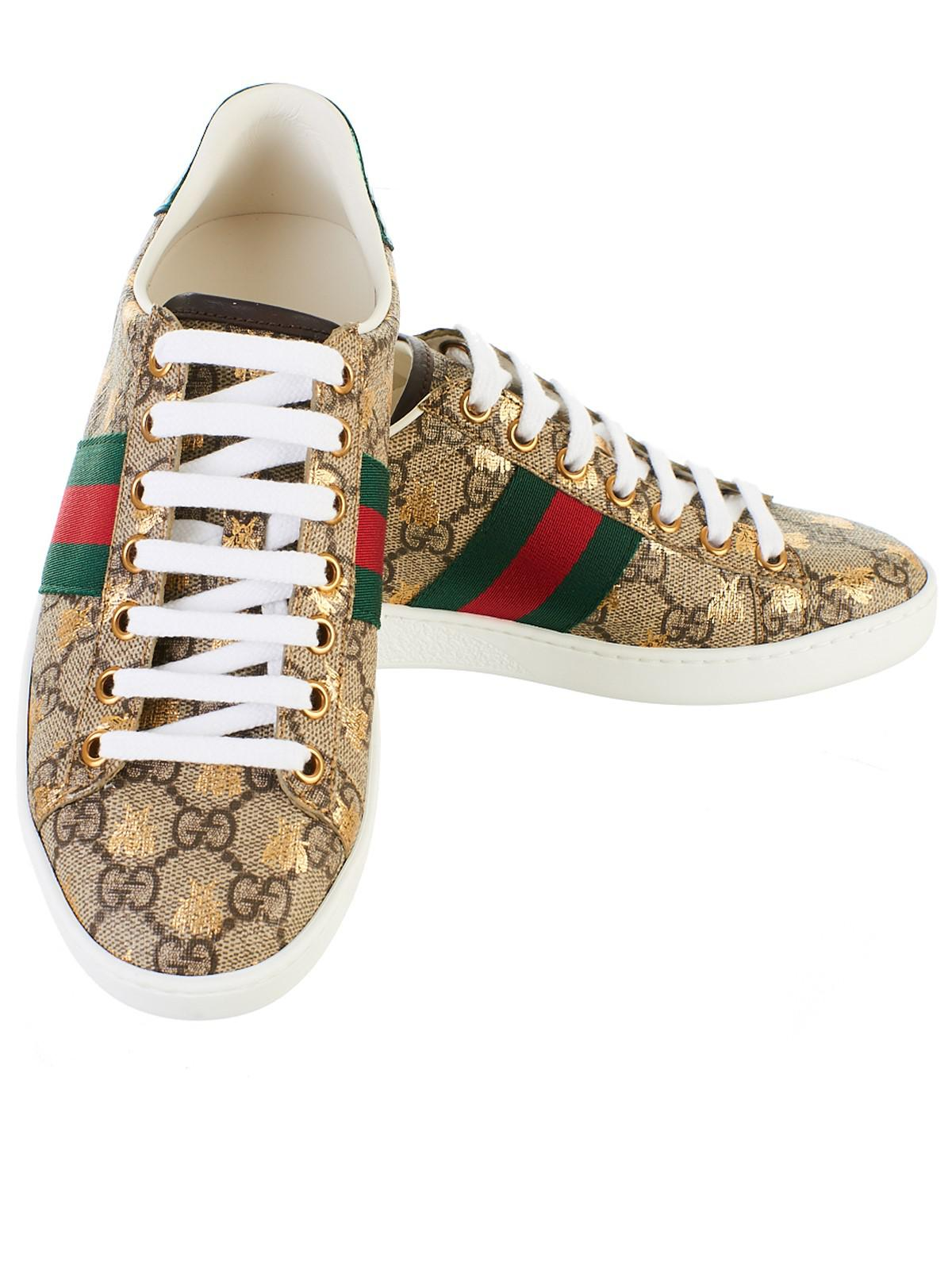 e3e00845b1f Lyst - Gucci Beige GG Supreme Bees Sneakers in Natural