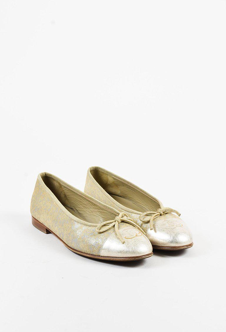11b3b69fa Lyst - Chanel Metallic Gold Leather 'cc' Cap Toe Ballet Flats in ...