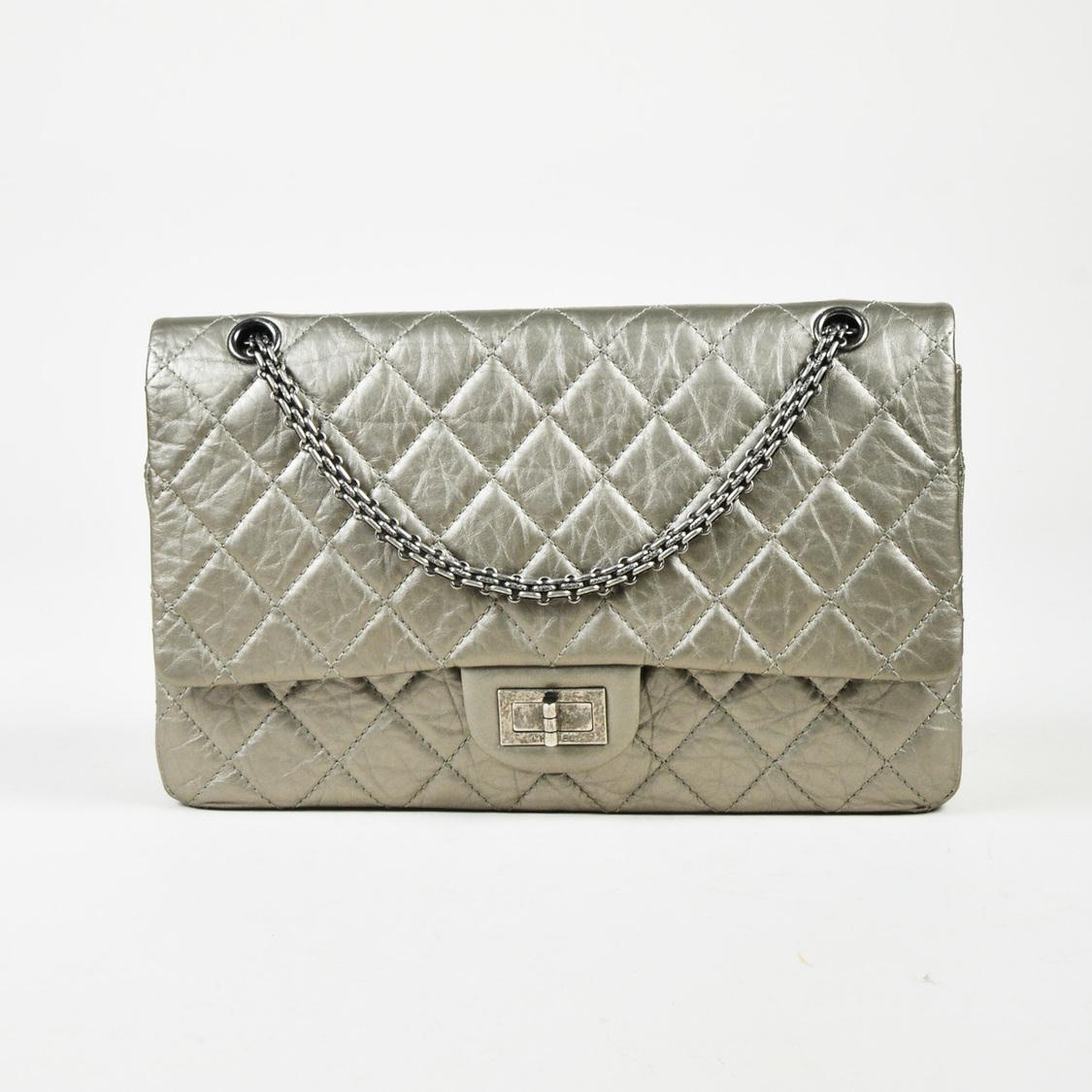 9f3856da22bb Chanel Gray Quilted Distressed Calfskin