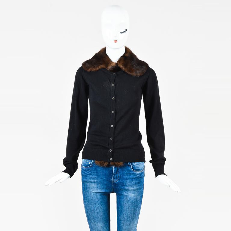 72feb2c34ced Lyst - Miu Miu Black   Brown Wool   Mink Fur Buttoned Cardigan in Black