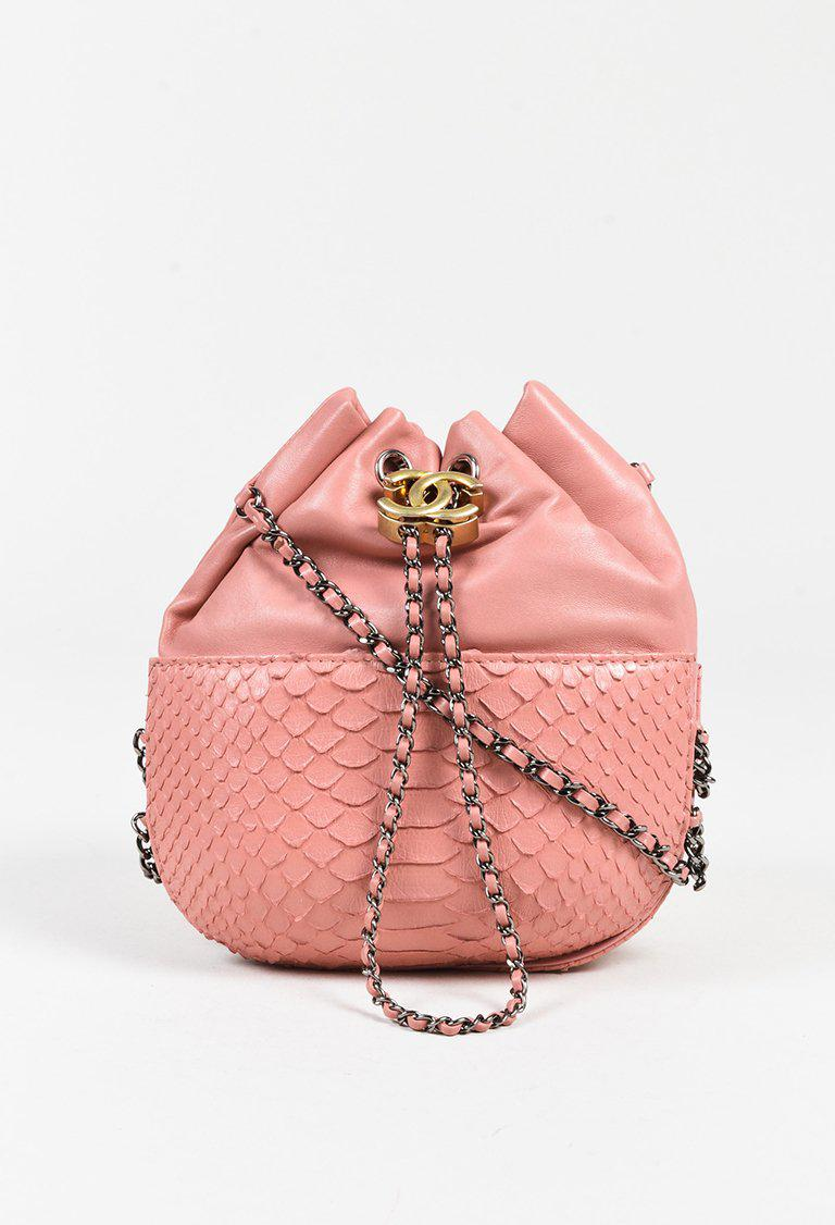 654cc593892bf7 Chanel Pink Leather & Python Chain Link