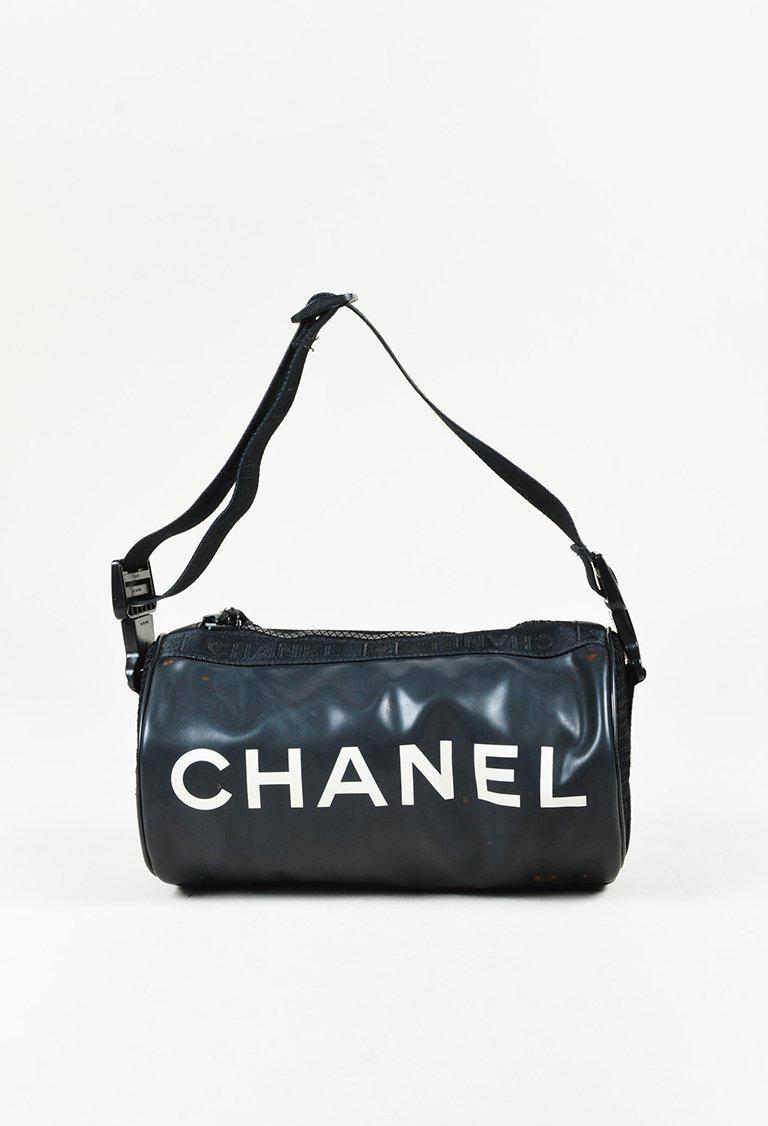 80179d69b19a Chanel Black Mesh Trimmed Logo Printed