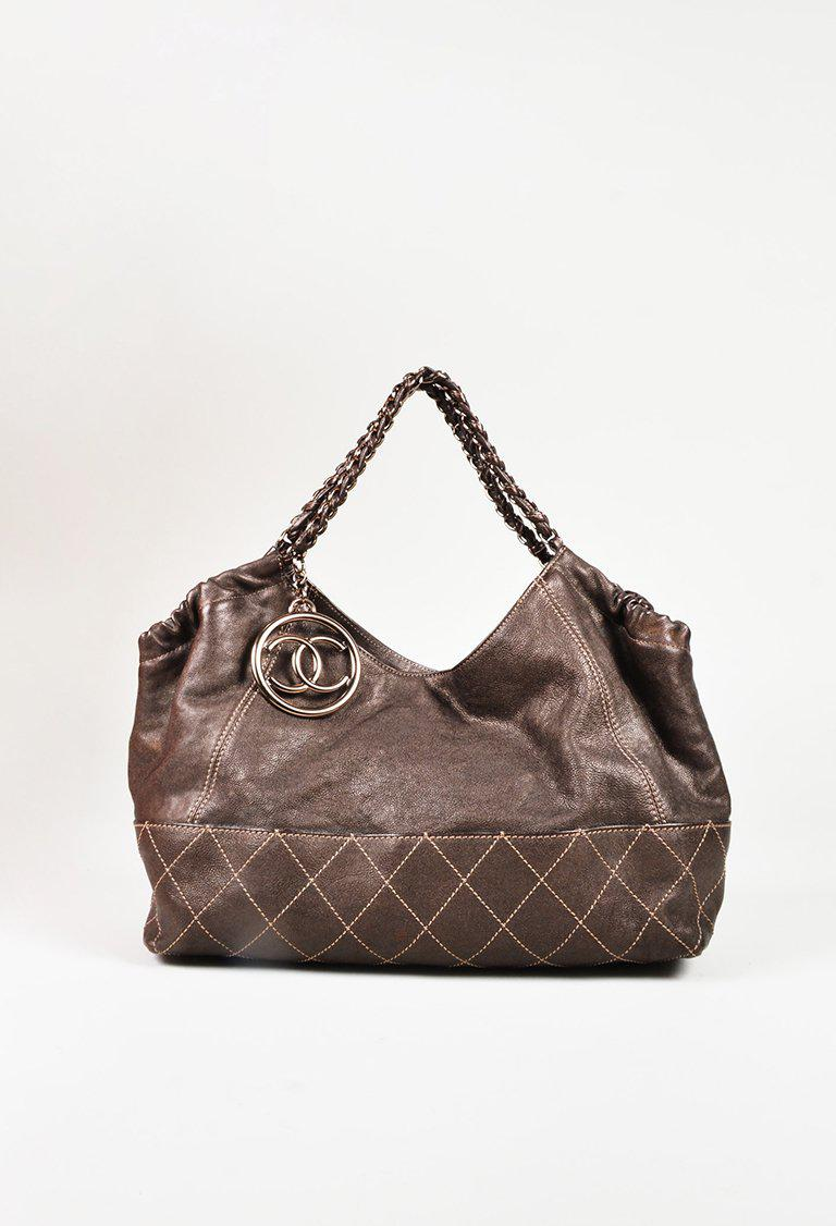 c2b82feb0 Chanel Brown Leather Chain Link