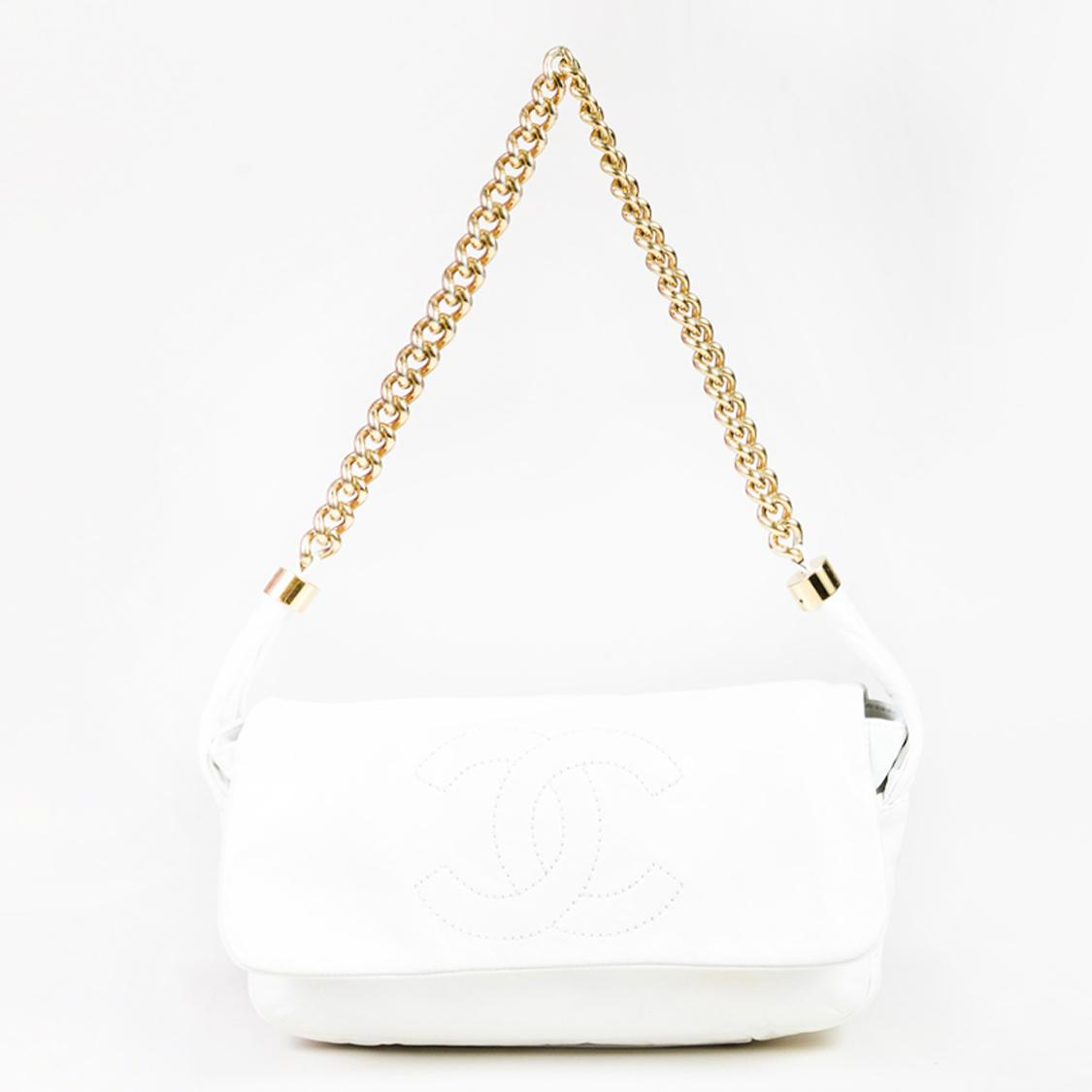 3ca8c5b429c2 Chanel. Women's White Leather 'cc' Stitched Gold Tone Chain Link Shoulder  Bag