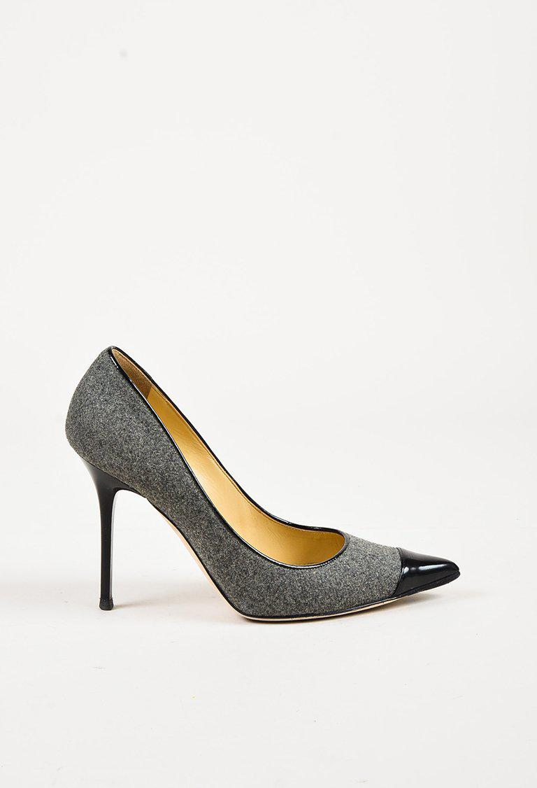 ab286a5670d7 Lyst - Jimmy Choo Grey Flannel Black Patent Cap Toe