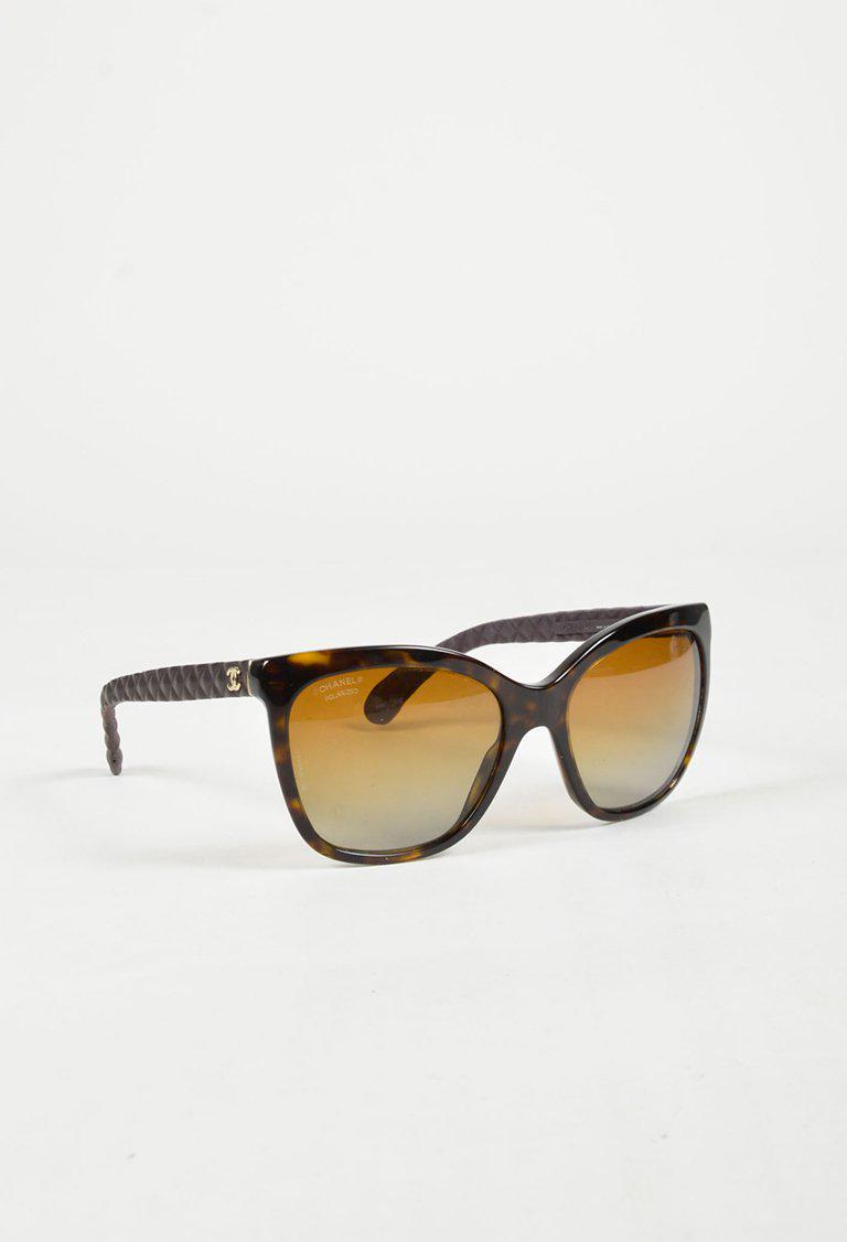 982758ec1bf22 Lyst - Chanel Brown   Yellow Acetate   Leather Tortoise Shell ...