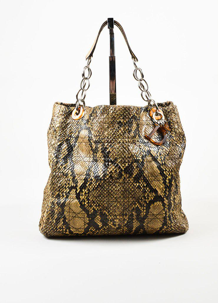 a0be3c9b2742 Dior Beige Python Cannage Stitch Tote Bag in Natural - Lyst