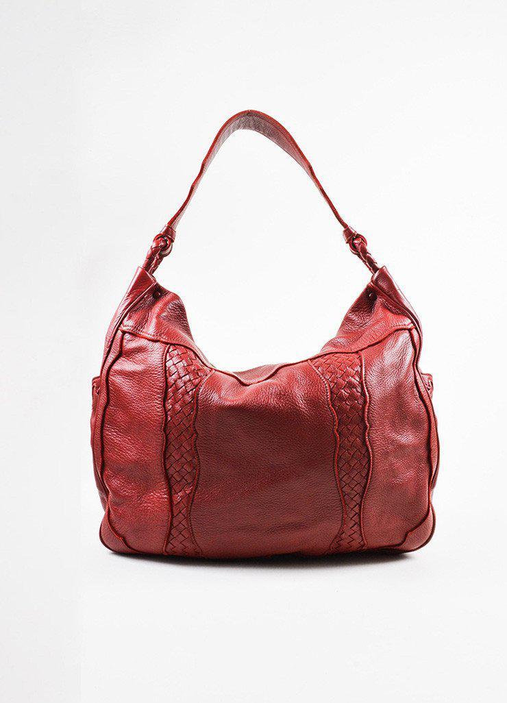 82db5311def4 Lyst - Bottega Veneta Red Leather Woven Trim Oversized Hobo Tote Bag ...