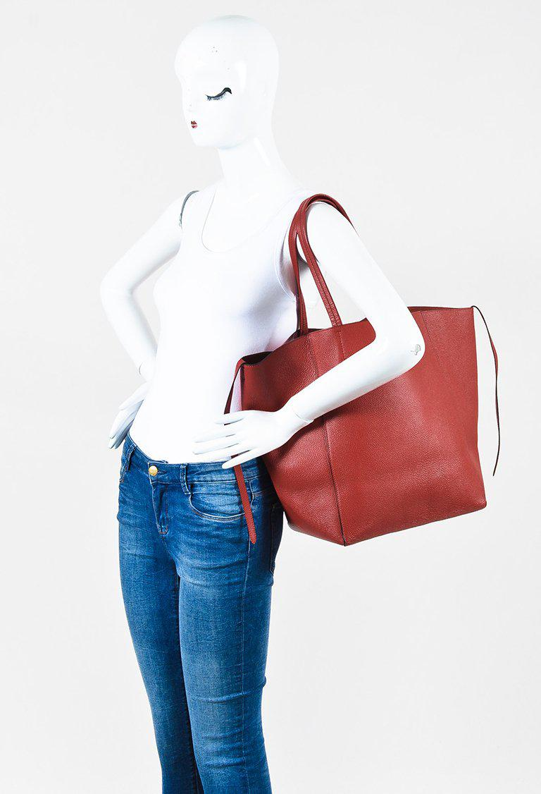 755d2b8ce973 Lyst - Céline Red Grained Leather